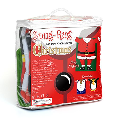 Snug Rug Christmas Penguin Fleece Blanket with Sleeves Black//White