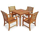 IND-70286-MOSE5Q Gartenmöbel Set Montana, Garten Garnitur Sitzgruppe aus Holz - 5-teilig - quadratischer Tisch + 4 x Stuhl