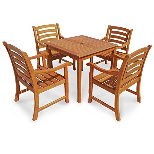 Indoba Gartenmöbel Set, 5-teilig 'Montana' - Gartenset - Serie Montana, braun, 80 x 80 x 74 cm, IND-70286-MOSE5Q