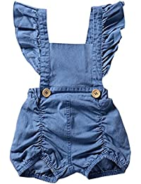 04fd20543 SHOBDW Girls Clothing Sets, Newborn Baby Girl Cotton Lattice Bowknot Clothes  Bodysuit Romper Jumpsuit…