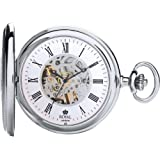 Royal London Chrome Plated Half Hunter Mechanical Pocket Watch With Roman Numerals