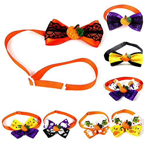 8pcs Pet Bow Krawatten Halloween Bowties für Pet Small Dogs Katzen Puppy Bow Ties Krawatte Kragen Party Grooming Zubehör