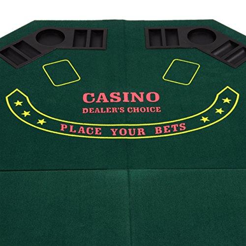 Nexos faltbare Tischauflage Casino Pokertisch Pokerauflage achteckig Holzverstärkt klappbar 120 x 120 cm Chiptray Getränkehalter inkl. Tragetasche - 2