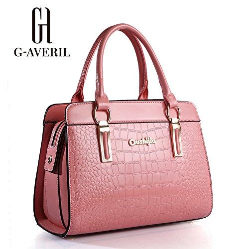 (G-AVERIL) PU in pelle Donna Borsa Handbag borsa a Spalla Borse a mano Tote Bag Shoulder Bag con Mutil tasche rosa