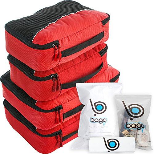 Cubos de embalaje valor establecido para viajes - 4 Organizador con documentos bolsa protectora Rojo
