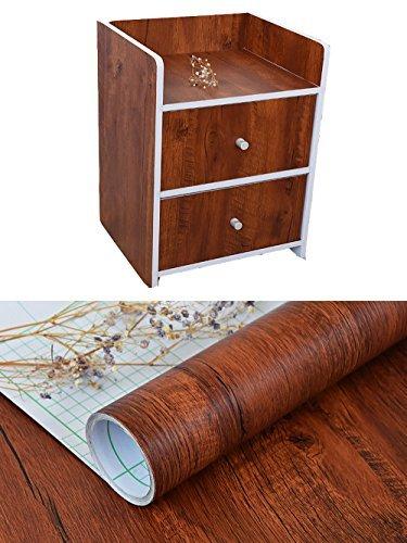décoratifs imitation Grain de bois contacter papier Vinyle autocollant étagère Doublure de tiroir pour armoires de cuisine de salle de bain étagères Table Arts and Crafts Autocollant 61 x 297,2 cm