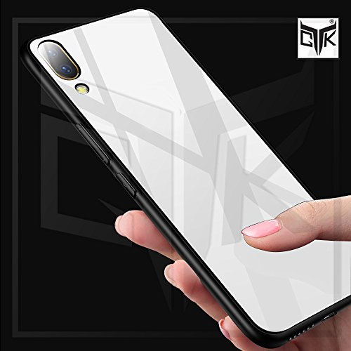 TheGiftKart Luxurious Toughened Glass Back Case with Shockproof TPU Bumper Back Case Cover for Vivo X21 UD (White & Black)