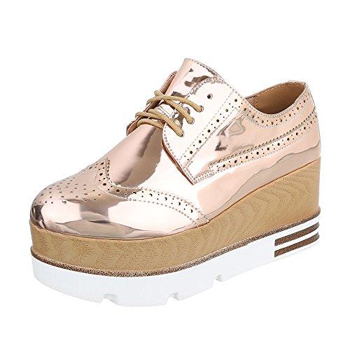 Schnürer Senhoras Sapatos Oxford Lace-ital De Design Sapatos Baixos Ouro Rosa 6996-p
