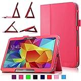 Infiland Samsung Galaxy Tab 4 10.1 Funda Case-Folio PU Cuero Cascara Delgada con Soporte para Samsung Galaxy Tab 4 10.1 SM-T530 SM-T535 Wi-Fi/LTE 25,6 cm (10,1 pulgadas) Tablet-PC (con Auto Reposo / Activación Función)(Rojo)