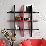 Wall Rack Shelf Globe Shape Floating Wall Unit - Red & Black