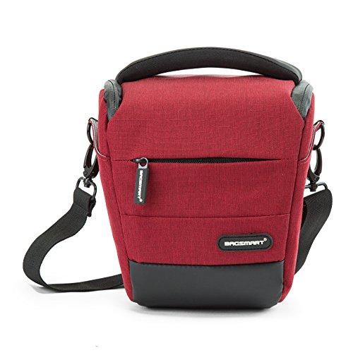 BAGSMART Kompakte SLR / DSLR Kameratasche mit Regenschutz Rot