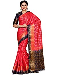 Mimosa By Kupinda Women's Art Silk Saree Kanjivaram Style Color : Red (4025-228-2D-Strw-Nvy)