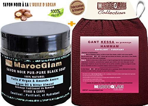 Savon Noir Marocain à l'huile d'argan BIO et l'Amande amère + Gant de gommage...