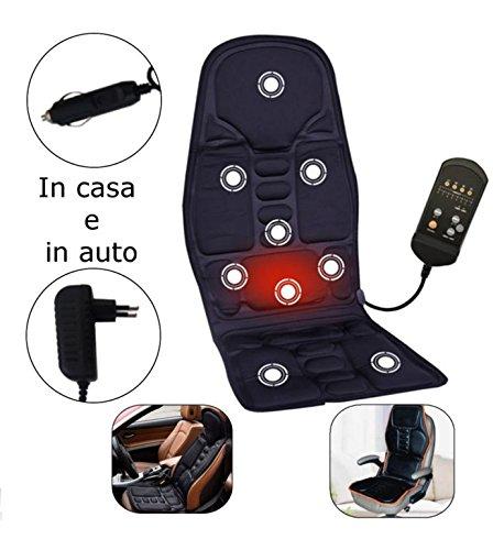 Cuscino da sedia o sedile auto massaggiante massaggiatore con presa da casa e da auto doppio alimentatore per massaggio