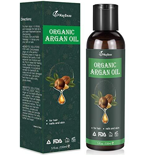 Bio Arganöl 150ml Kaltgepresst Biologisches Serum- Anti-Aging & Anti-Falten - für Gesicht Haut Haare & Augenbrauen, 100% aus Marokko Gesichtspflege & Körper Öl-Naturkosmetik (E Kaltgepresstes Vitamin)