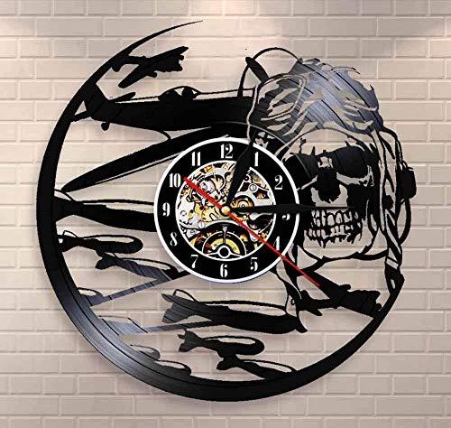 Liafa Rétro Pilote Crâne Horloge Murale Aviateur Squelette Disque Vinyle Horloge Murale Avion Jet Volant Casque Hipster Lunettes Crâne Décor Mural