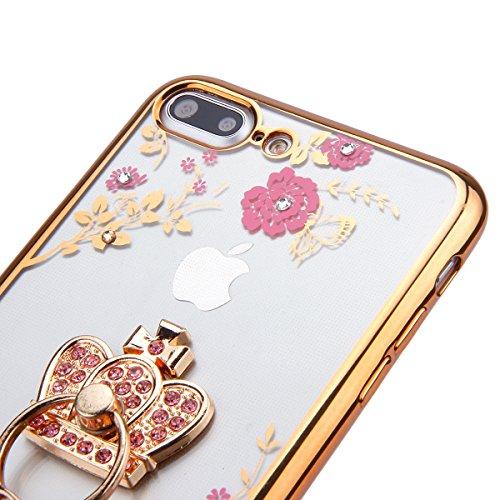 iPhone 7 Plus Hülle,iPhone 7 Plus Silikon Hülle Tasche Handyhülle,SainCat Flamingos Muster Ultra dünne Silikon Hülle Schutzhülle Durchsichtig Hadytasche Stoßfeste TPU Gel Case Bumper Weiche Crystal Ki Gold Kaiserkrone -Rosa Blumen
