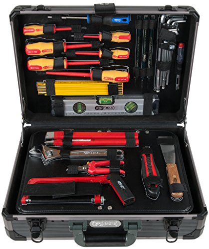 """KS Tools 911.0628 1/4"""" + 1/2"""" Elektriker-Werkzeugkoffer, 128-teilig, Werkzeugkoffer / Werkzeugset / Werkzeugkasten / Werkzeugkiste, inkl. Werkzeug wie z. B. Schraubendreher, Zangen, Ringmaulschlüssel, Meißel"""