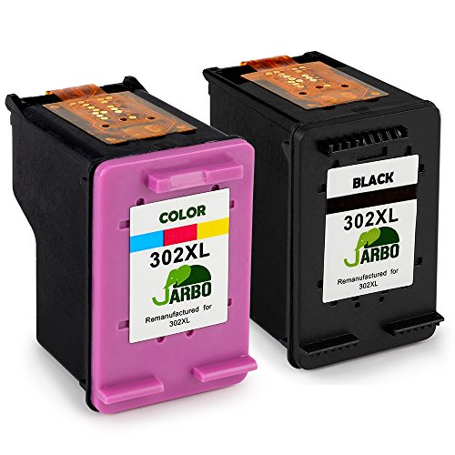 JARBO Rigenerata HP 302 XL Cartucce d'inchiostro (1 Nero,1 colore) Compatibile con HP DeskJet 1110 1115 2130 2132 3630 3632 3633 HP OfficeJet 3830 3831 3832 4651 4652 4654 HP Envy 4520 4521 4522 4527 4528