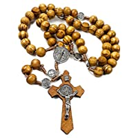 San Benito medalla de madera de olivo rosario Católica Nr hecha a mano de Jerusalén
