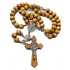 Nazareth Store Jerusalem Rosenkranz aus Olivenholz mit katholischer NR-Medaille, handgefertigt