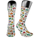 vnsukdlfg Compression Medium Calf Socks,Various Home Interior Elements Armchair Table Mirror Design Elements Doodle Style