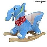 Forever Speed Schaukelpferd Plüsch Schaukeltier Baby Schaukelspielzeug Geschenk für Kinder Elephant Sound