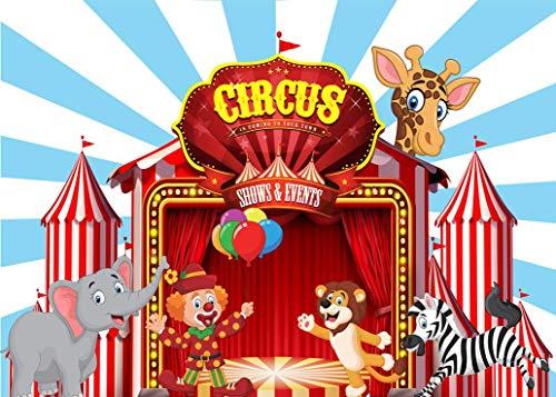 EdCott 7x5ft Zirkus Lion Zebra Fotografie Hintergrund Baby Geburtstag Cartoon Party Rot Blau Foto Hintergrund Niedlichen Tier Hintergrund Fotostudio Requisiten für Hauptdekorationen Tapete (Party Zebra Rosa)