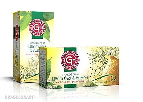 Elderflower Lemon Herbal Tea Bags Mix 30g Ginger Roots Apple Fruits Chicory Roots Elderflower Lemon Natural Premium Bagged 20 Bags