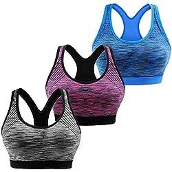 Libella Mujer Sujetador Deportivo Push Up para Damas con Rellenos Sin Tirantes Espalda Cruzada 3761 UN2 S/M
