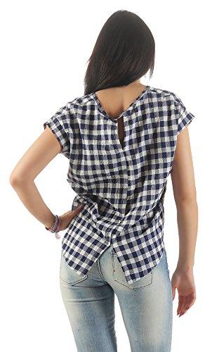 IKONA21 – Fashion Italy Damen Shirt Bluse Tunika Longshirt Onesize S M L XL 36 38 40 42 44 500 605 Weiß Blau