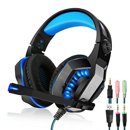 Beexcelente GM-2 - Auriculares de diadema para juegos con micrófono, claridad de sonido, reducción de ruido con luces LED suaves y cómodas almohadillas para las orejas para PlayStation 4, Xbox One, PC, ordenadores portátiles, smartphones, color azul
