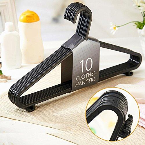 Perchas de plástico para ropa de adulto, 10 unidades 36cm*20cm negro