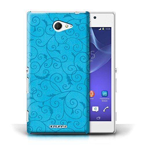 Kobalt® Imprimé Etui / Coque pour Sony Xperia M2 / Pourpre conception / Série Motif de la vigne Turquoise