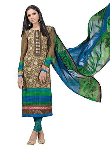 crazy bachat Indian Designer Salwar Suits Frech Crape Brown Color Semi Stitched Dress