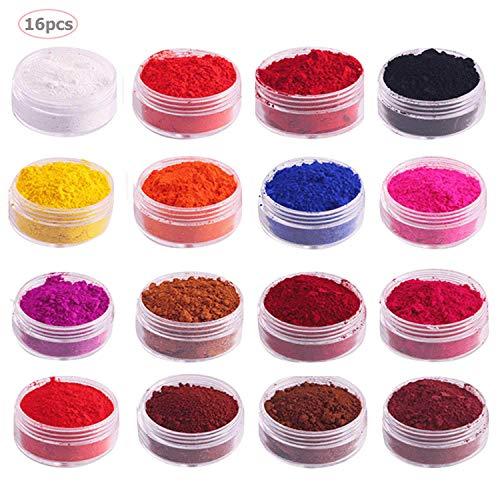 Mica pigment migavan,16 pezzi colore naturale pigmento mica polvere set colorante per fare sapone bagno unghie bombe rossetto ombretto
