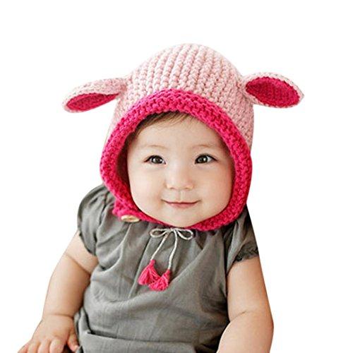 Oyedens Artículos De Punto De Conejo Casquillo Del Oído Oídos Del Bebé De La Historieta Sombreros Sombreros Del Bebé Del Sombrero Del Invierno Del Otoño (Rosa)