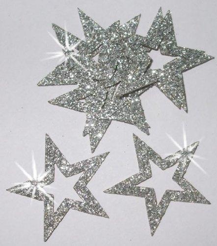 12, 35 mm, Stern, Glitzer-Gliederung zum Aufbügeln silber