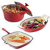 VonShef 3-teilges Kochgeschirr-Set aus Gusseisen mit hitzebständiger Kasserole, Gratinform und Grillpfanne