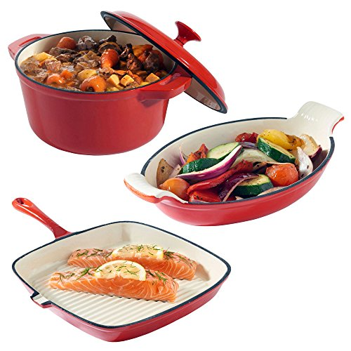 VonShef Cast Iron Casserole, Gratin and Griddle Dishes - Set of 3 - Oven to Table Cookware