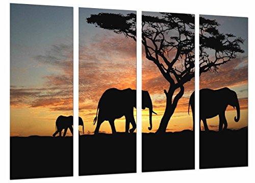 Cuadro Moderno Fotografico Paisaje Atardecer Naturaleza Africana, Elefantes Animal, 131 x 63...