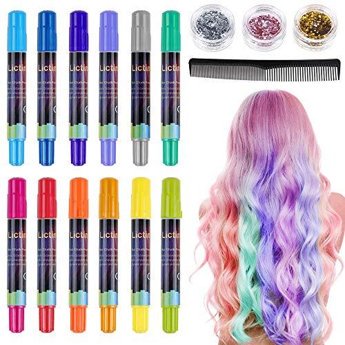 Lictin Tiza para el cabello Tintes capilares con tiza Para niños y niñas Pluma de tinte...