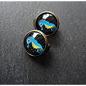 Ohrclips Ohrklemme Ohrschmuck Seepferdchen schwarz türkis