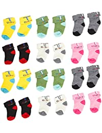BAYBEE New Born Baby Cotton Stylish Socks | Fashion Summer Socks Cotton Thin Toddler for Baby Girl and Boy 0-12 Months Random Colors