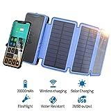 Soluser Wireless Solar Ladegerät 20000mAh Powerbank mit 3 Solarpanel & Starker LED-Taschenlampe Tragbare Externer Akku für Smartphones/Handys