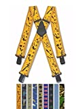 "Mens Trouser Braces Heavy Duty 2"" 50mm Wide Double Stitched Crosspatch Black Clips (Motorbike)"
