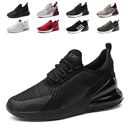 smarten Sportschuhe Herren Damen Laufschuhe Luftkissen Schuhe Turnschuhe Fitness Gym Leichtes Bequem Sommer Trekking Sneakers Black 41 EU (Schuhe Cool)