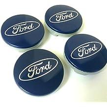 Set de 4tapacubos de llantas de aleación 54 mm para Ford, color azul, logo plateado, Ka Kuga Fusion Fiesta Focus Mondeo Galaxy C-Max S-Max y otros modelos.