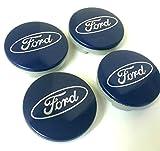 Set di 4ruote in lega Ford centro Coprimozzo 54mm copertura blu argento logo Wheel badge KA Kuga Fusion Fiesta Focus Mondeo Galaxy S-Max C-MAX e altri modelli