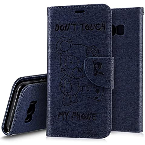 Galaxy S8 Plus Case, Wallet Case for Samsung Galaxy S8 Plus,Ukayfe [Embossed Cartoon Bear] Pattern Premium PU Leather Folio Case Flip Wallet Cover with Card Slots and Strap Phone Case For Samsung Galaxy S8 Plus , Don't Touch My Phone, Navy Blue